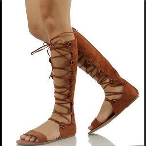 Cognac lace up gladiator knee high sandal